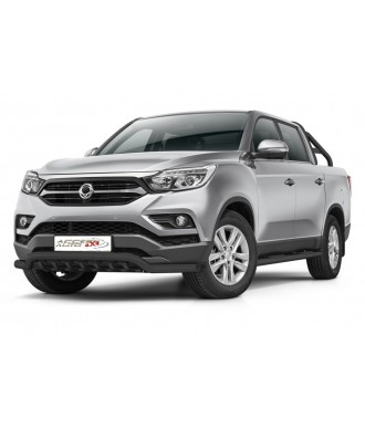PARE BUFFLE-SSANGYONG-MUSSO-2018-AUJOURD'HUI-HOMOLOGUE INOX NOIR  Protection Basse-Grille