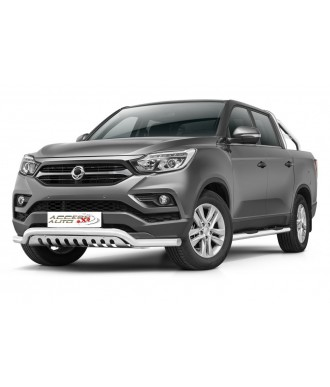 PARE BUFFLE-SSANGYONG-MUSSO-2018-AUJOURD'HUI HOMOLOGUE -INOX Protection Basse-Plaque