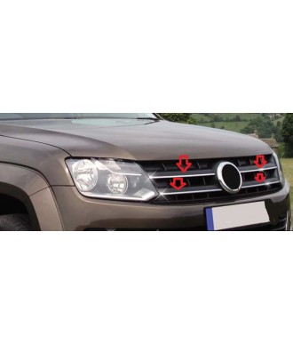 Element grille calandre-VOLKSWAGEN-AMAROK-2010-2016-INOX CHROME 4 PIECES